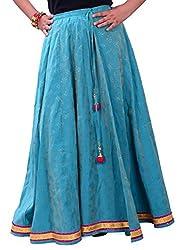 Jeeyaa Creations Women Silk Long Skirt(jcsk6476bl01_blue)