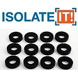 "Isolate It!: Sorbothane Vibration Isolation Washer 50 Duro (.45"" ID - 1"" OD - .19"" Deep) - 12 Pack"