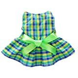 Fitwarm Casual Plaid Dog Dress Dog Clothes Cozy Dog Shirt Pet Dress, Small