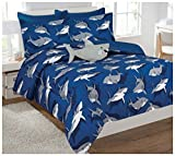 Fancy Collection 6 Pc Kids teens Shark Blue Grey Design Luxury Comforter Furry Buddy Included