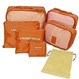旅行用 トラベル 収納 メッシュケース ポーチ 巾着 7点セット (アプリコットオレンジ)