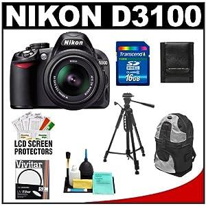 Nikon D3100 14.2 MP Digital SLR Camera & 18-55mm G VR DX AF-S Zoom Lens with 16GB Card + Backpack Case + Tripod + Accessory Kit