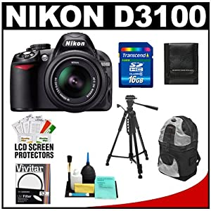 Nikon D3100 14.2 MP Digital SLR Camera & 18-55mm G VR DX AF-S Zoom Lens w...