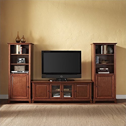 Crosley Newport Low Profile Tv Stand And Two Audio Piers 60 By 60 Classic Cherry Finish