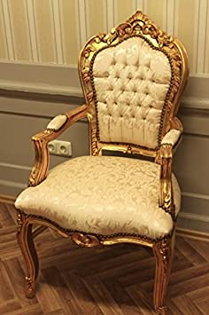 baroque armchair carved fabric hell beige antique style rococo leaved gold