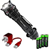 NEBO Redline Select RC 6189 3100 LUX LED USB rechargeable Tactical Flashlight with EdisonBright AA/AAA alkaline battery sampler pack