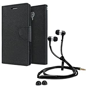 Aart Fancy Diary Card Wallet Flip Case Back Cover For HTC 816-(Black) + Zipper earphones/Hands free With Mic *Stylish Design* for all Mobiles By Aart store