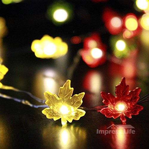 IMPRESS LIFE Maple Leaves Fairy Remote String Lights on 50 LEDs 10 ft Copper Wire for Outdoor, Indoor, Thanksgiving, Christmas, Birthday Parties DIY Decorations