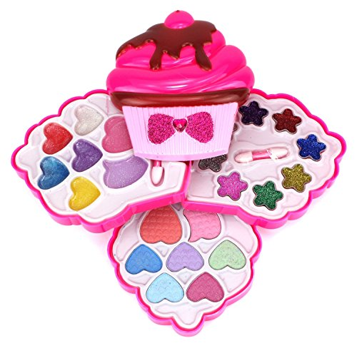 My Beauty World Ice Cream Cupcake Case Pretend Play Toy Make Up Case Kit, Safe, Non-Toxic, Washable, Formulated for Children