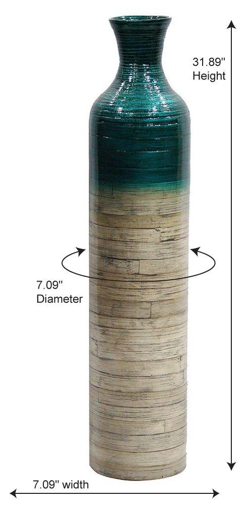 Bamboo Floor Vase with Metallic Teal