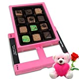 Valentine Chocholik Belgium Chocolates - Beautiful Design Chocolates Box For Love With Teddy And Rose
