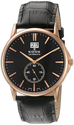 EDOX - 64012 37R NIR - Montre Mixte - Quartz Analogique - Bracelet Cuir Noir