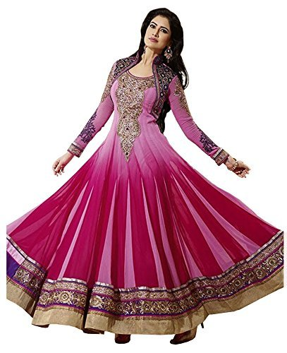 Divyaemporio Womens Faux Georgette Resham Anarkali Dres...