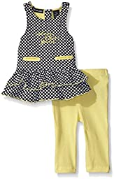 Calvin Klein Baby-Girls Dobby Knit Tunic and Yellow Spandex Leggings, Yellow, 18 Months