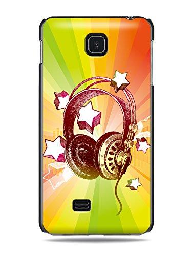 "Grüv Premium Case - ""Colorful Music Dj Headphones & Stars"" Design - Best Quality Designer Print On Black Hard Cover - For Lg Optimus F5 P875"