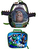 Buzz Lightyear Space Ranger 16 Backpack with Wings and Toy Story Rectangular Lunch Kit - This Bundle has 2 Pieces