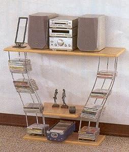 Modern Style Chrome & Wood Finish Stereo Shelf w/CD Rack Holder