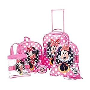 Disney Minnie Mouse Girls Pink 5 Piece Luggage Set
