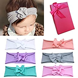 Elesa Miracle Hair Accessories Sweet Baby Girl\'s Gift Box with Chiffon Lace Hair Bow Flower Headband (6pc Pure Color Headband)