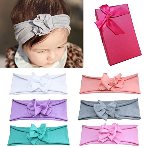 Elesa Miracle Hair Accessories Sweet Baby Girl's Gift Box with Chiffon Lace Hair Bow Flower Headband (6pc Pure Color Headband)
