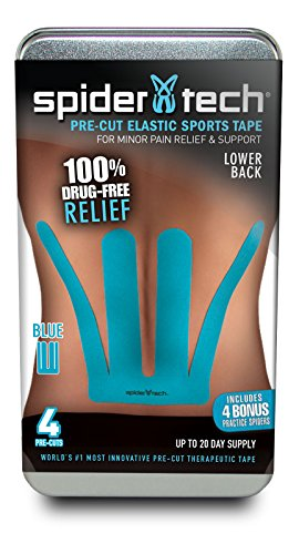 *SpiderTech - Pre-Cut Lower Back - Therapeutic Sports Tape - 4-Piece Tin/Sleeve Packaging - Blue Only