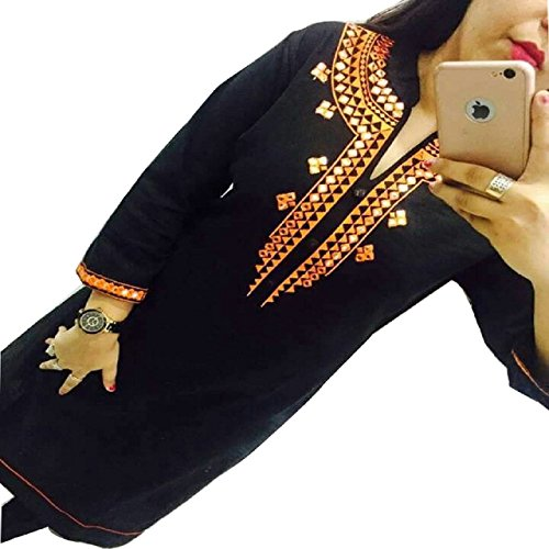Kesu-Fahion-Womens-Embroidered-semi-stitched-Selfie-Kurti-In-Georgette-Fabric-KUKRT1010Free-SizeBlack