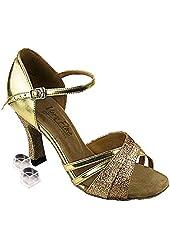 "Very Fine Women's Salsa Ballroom Tango Latin Dance Shoes Style 6030 Bundle with Plastic Dance Shoe Heel Protector 3 """