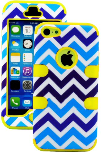 Mylife (Tm) True Yellow + Blue And White Chevron 3 Layer (Hybrid Flex Gel) Grip Case For New Apple Iphone 5C Touch Phone (External 2 Piece Full Body Defender Armor Rubberized Shell + Internal Gel Fit Silicone Flex Protector + Lifetime Waranty + Sealed Ins