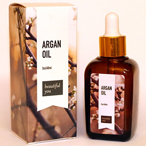 Argan Oil for Hair and Face by Beautiful You - 2oz of 100% Organic Pure Oil - Perfect for Skin Care, Hair, Nails and Face - Great Moisturizer to Prevent Dry Skin - Increase Natural Shine and Prevent Frizzing in your Hair - 100% MONEY BACK GUARANTEE
