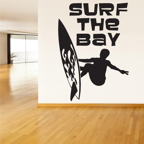 Wall Decal Vinyl Sticker Decals Surf the Bay Words Sign Quote (Z1350)