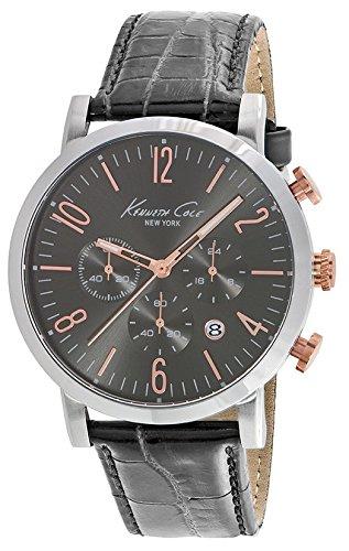 Orologio da polso orologio Kenneth Cole Sport-S/S Uomo Chrono IP Oro Rosa Dettagli coccodrillo Texture Strap Data 3ATM 44mm 10020825
