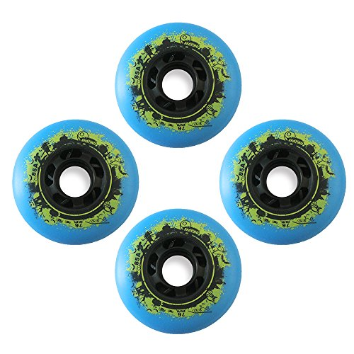 Kuxuan PU Inline Skate Replacement Wheels 76mm (Pack of 4) Blue (Rollerblade Wheels 80mm 82a compare prices)