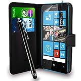 Nokia Lumia 520 - Premium Leather Wallet Flip Case Cover Pouch + Long Touch Stylus Pen + Mini Touch Stylus Pen + Screen Protector & Polishing Cloth (Wallet Black)