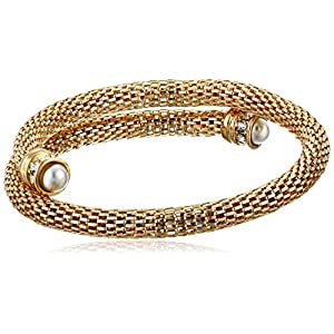 Anne Klein Gold Tone Crystal Accents Mesh Wrap Bracelet