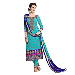 M Fab Embroidered Sky Blue Chanderi Cotton Un Stitched Dress Material