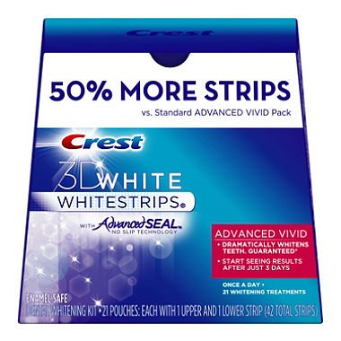 Crest 3D Whitening White Strips with Advanced Seal Vivid 50% More Strips, 42 Count,21 Treatments (Crest Whitening Advanced Seal compare prices)