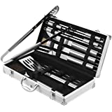 VonShef 18 Piece Stainless Steel BBQ Tool Set With Carry Case