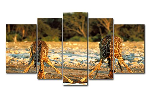 5 Piece Wall Art Painting Giraffe Drink By The River Pictures Prints On Canvas Animal The Picture Decor Oil For Home Modern Decoration Print For Bedroom