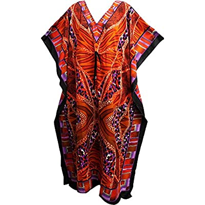 Bohemian Crepe Caftan Cover-Up Hippie Gypsy Chic #17 Orange
