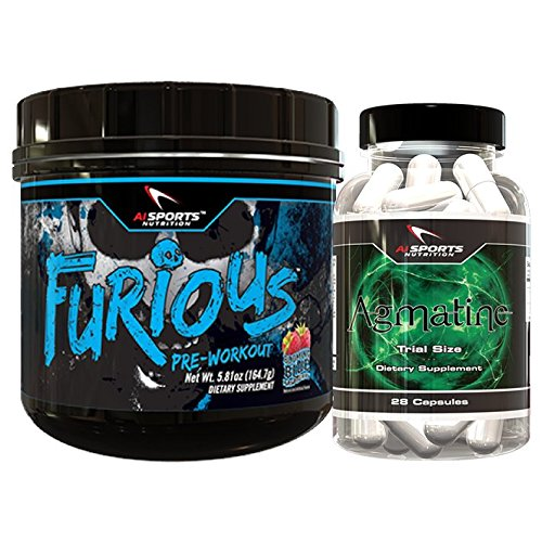 Furious Pre Workout Blue Raspberry Agmatine Combo Pack. 1 30 Serving Blue raspberry Furious plus Agamine 120 count bottle Amazing Energy And Pumps by Ai Sports Nutrition (Spark Drink Grape compare prices)