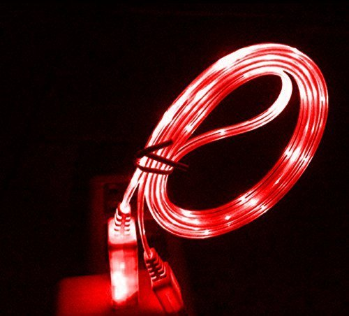 Bluefinger Light Up Luminescent Visible Flowing Light Lightning Usb Smart Charge And Sync Data Cable For Iphone 5 5S 5C (Red)