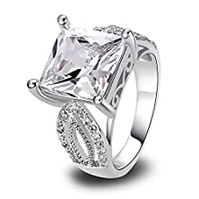 buy Psiroy 925 Sterling Silver Grace Womens Band Charms White Topaz Engagement Filled Ring Size 8