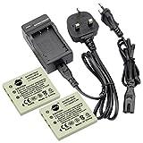 DSTE® 2pcs NP-40 Replacement Li-ion Battery + Charger DC29U for Fujifilm NP40, NP-40N and FinePix F460, F470, F480, F610, F650, F402, F403, F420, F455, F700, F710, F810, F811, J50, V10, Z1, Z2, Z3, Z5fd and Compatible with Kodark KLIC-7005, BENQ DLI-102,