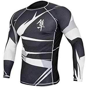 Hayabusa Metaru 47 Silver Rashguard Long Sleeve Shirt, Large, Black/White