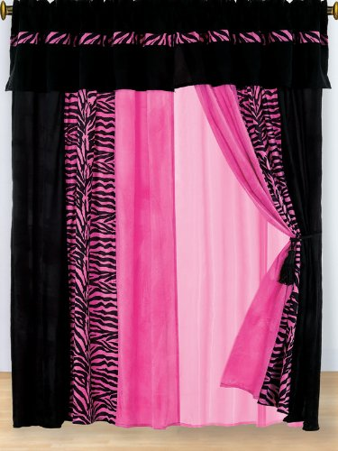 Pink zebra print bedroom accessories pink curtain