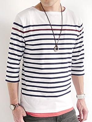 (オークランド) Oakland パネルボーダー 7分袖 カットソー ボートネック マリン サマー スプリング Tシャツ リゾート メンズ オフホワイト×ネイビー Mサイズ