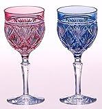 カガミクリスタル ペア葡萄酒杯 笹っ葉 #2620