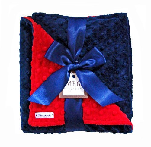 MEG Original Navy Blue & Red Minky Dot Baby Blanket