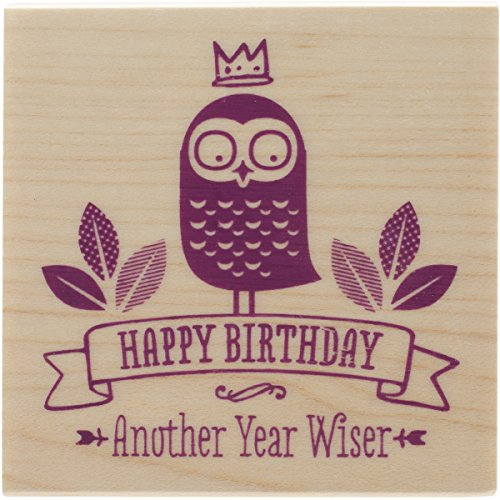 "Inkadinkado Another Year Wiser Mounted Rubber Stamp, 2.25"" by 2.25"""