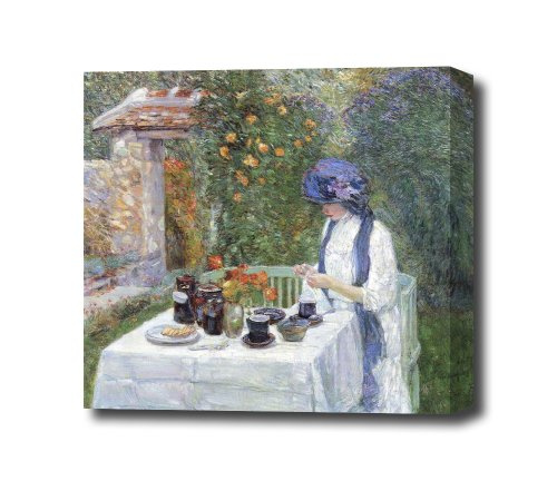 The Terre-Cuits Tea Set By Hassam Reproduction Canvas Art Print, Ready To Hang 20 X 18